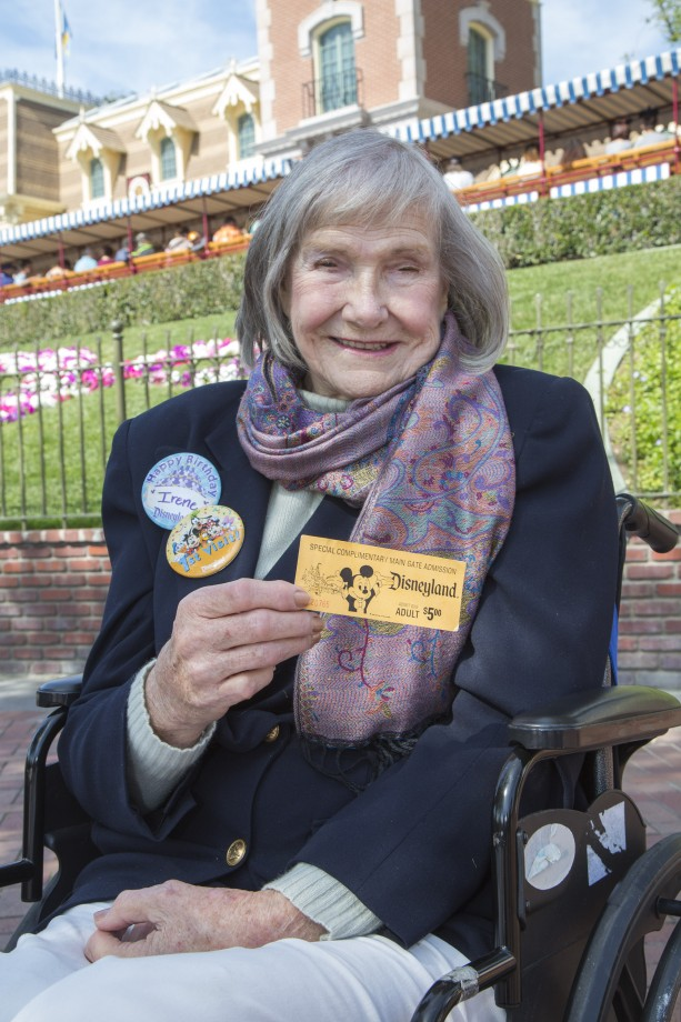 Irene Jewell Celebrates 90th Birthday with First Visit to Disneyland Park
