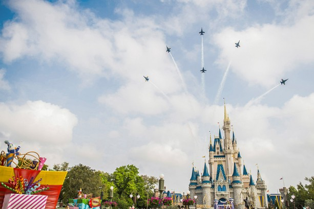 U.S. Navy Blue Angels Roar Down Main Street, U.S.A. at the Walt Disney World Resort