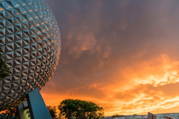 Disney Parks After Dark: Sunset at Spaceship Earth at Epcot