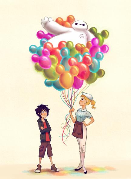 #DisneySide Doodles: Baymax & Hiro on Main Street, U.S.A.