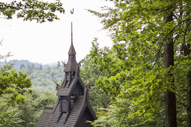 Disney Cruise Line Guests Visiting Fantoft Stave Church in Norway