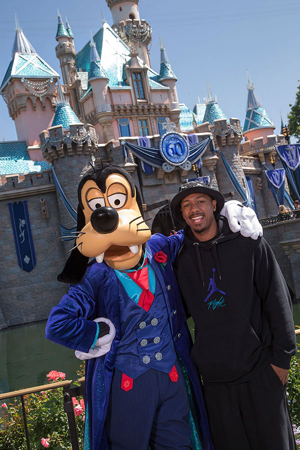 Nick Cannon Celebrates with Goofy at Disneyland Park