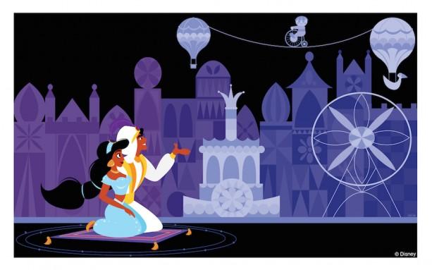 Disney Doodles: Aladdin & Jasmine at 'it's a small world'