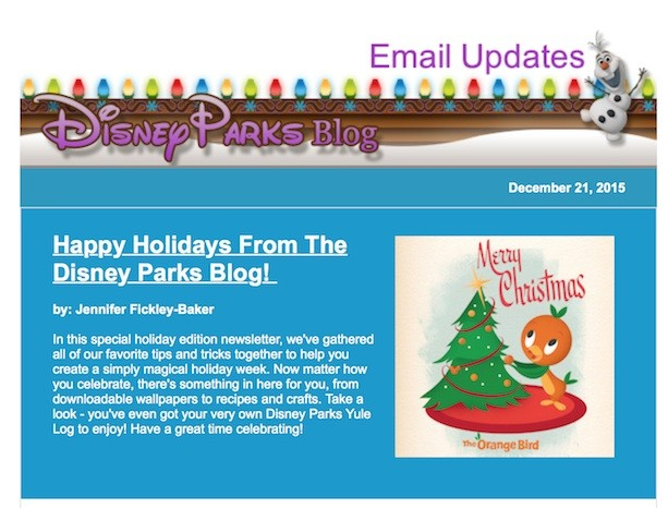 Disney Parks Blog Holiday Newsletter Features Exclusive Wallpaper