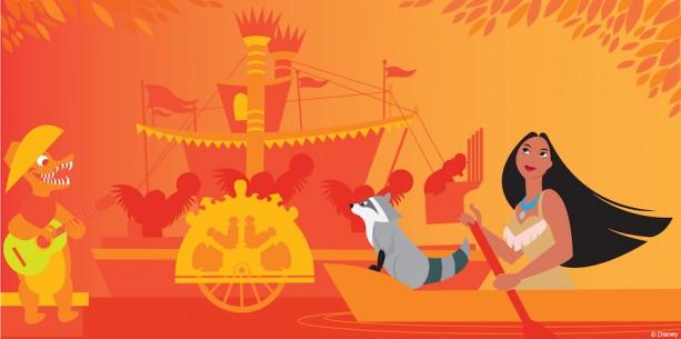 Disney Doodle: Pocahontas Visits Splash Mountain at Magic Kingdom Park