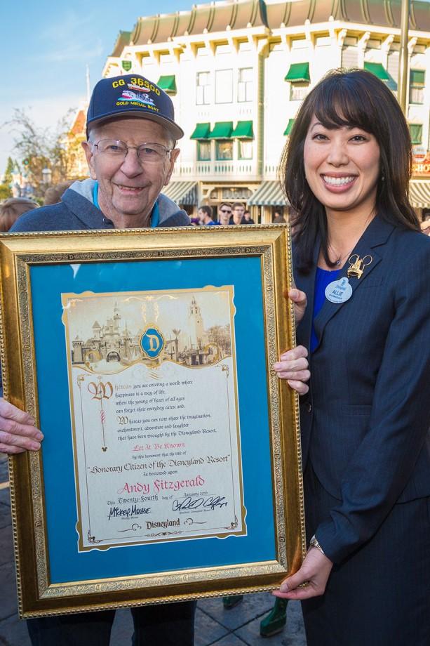 RECAP: Real-Life Hero Behind Disney's 'The Finest Hours' Saluted at Disneyland Resort Flag Retreat Ceremony