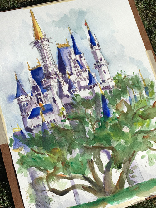 Sketches From The Park: Watch As Disney Artist Will Gay Paints Cinderella Castle