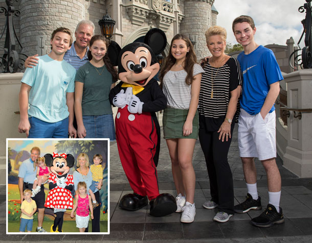 Joan Lunden and Family pose in front of Cinderella Castle at Magic Kingdom Park, then and now