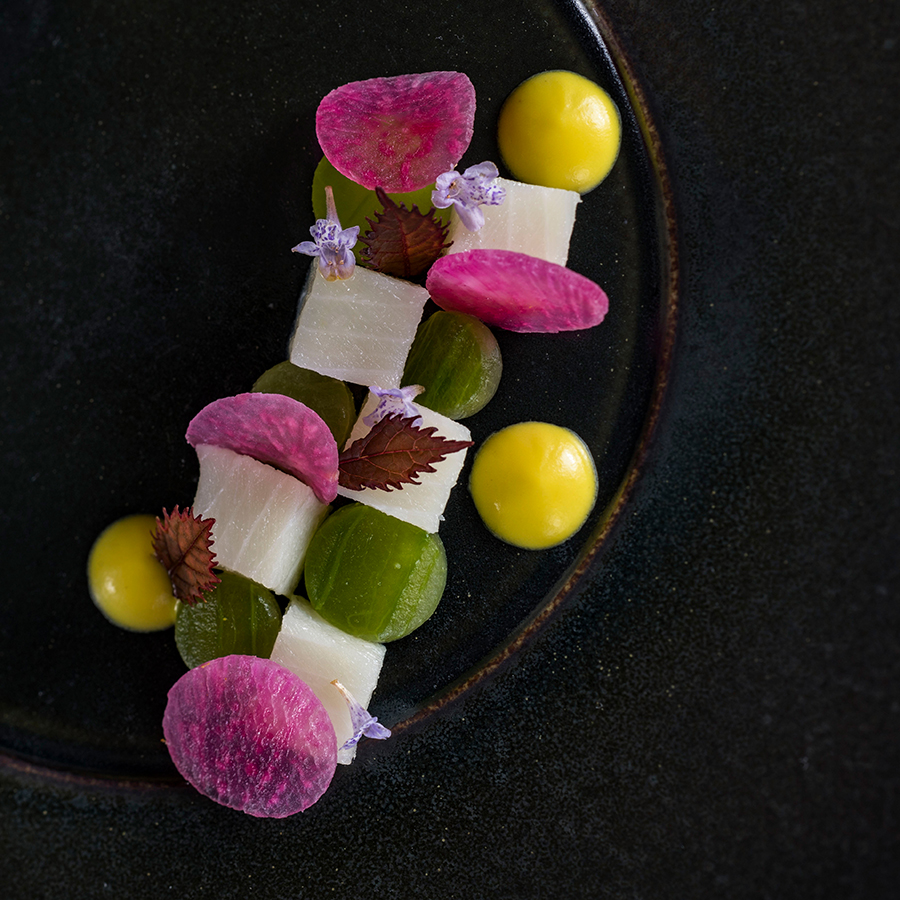 Hamachi Watermelon and Radishes with a Lemon Emulsion, from Victoria & Albert's