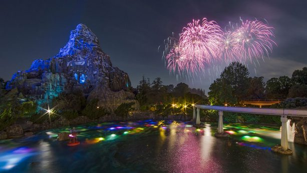 Disney Parks After Dark: 'Together Forever – A Pixar Nighttime Spectacular' Over the Tomorrowland Lagoon at Disneyland Park