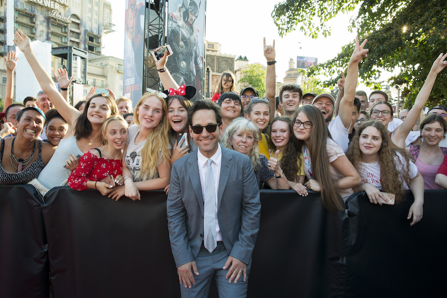 Actor Paul Rudd poses for a picture with fans during the European Premiere of Marvel Studios