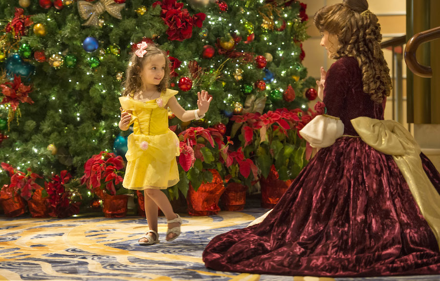 Visits from favorite Disney characters and princesses dressed in holiday attire aboard Disney Cruise Line