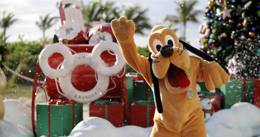 Pluto at Castaway Cay duinrg the Holiday Season
