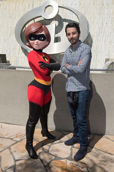 Diego Luna Explores Pixar Pier at Disney California Adventure Park