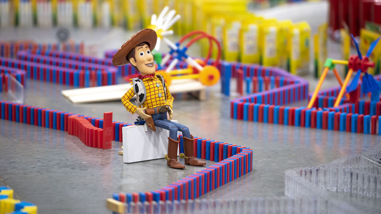 Spectacular 32,000-Piece Domino Maze Celebrates Disney's Toy Story Land, Pixar with Exclusive Tricks, Classic Toys