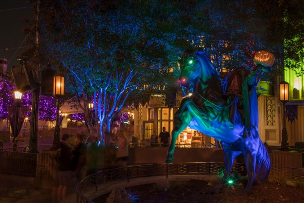 The Headless Horseman statue, Buena Vista Street at Disney California Adventure
