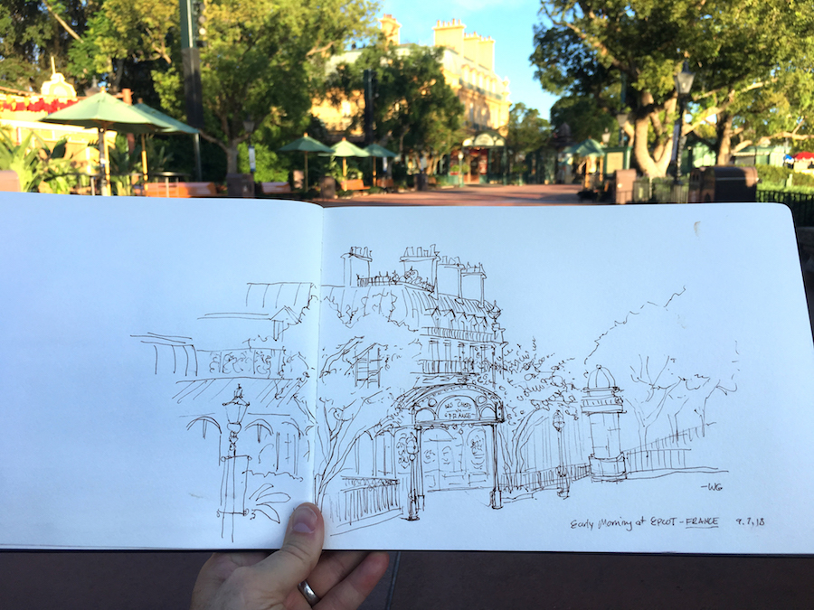 Pen Line Art Sketch of Chefs de France by Disney Artist Wil Gay