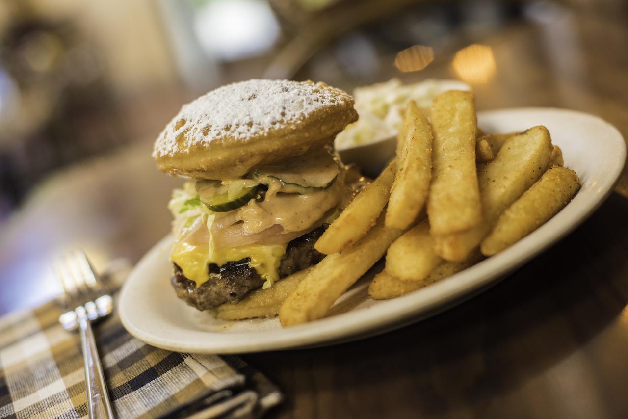 Beignet Burger at Sassagoula Floatworks and Food Factory at Disney's Port Orleans Resort – French Quarter