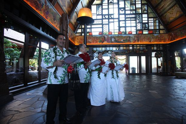 Holiday Caroling with our carolers around the resort