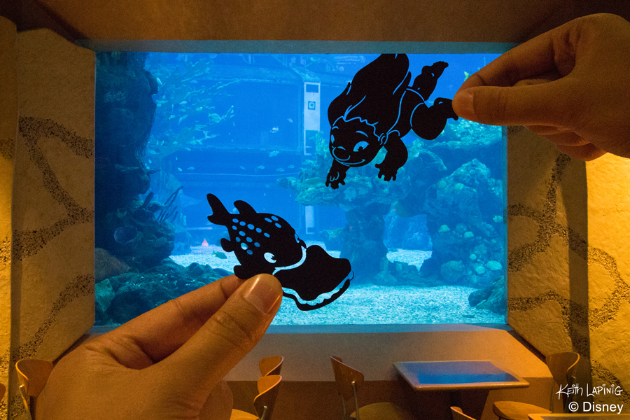 "Disney Parks in Silhouette: Lilo and Pudge from ""Lilo and Stitch"" at Coral Reef restaurant at Epcot design by artist Keith Lapinig"
