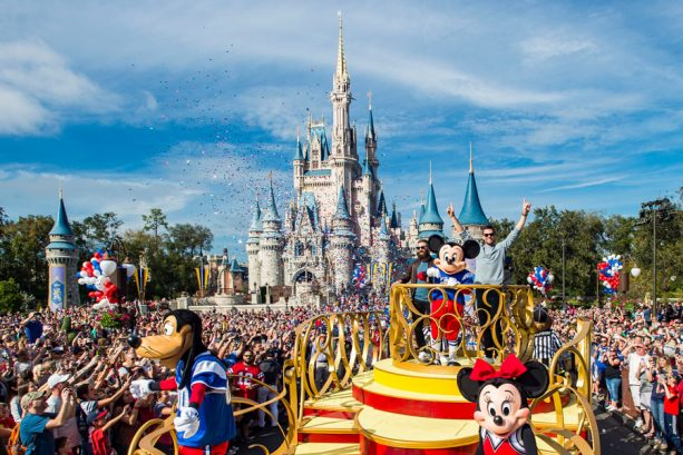 New England Patriots wide receiver Julian Edelman (left) and quarterback Tom Brady (right) celebrated their Super Bowl LIII victory Monday, Feb. 4, 2019, at Walt Disney World Resort. The pair participated in a parade with Mickey Mouse and other Disney pals, waving to cheering fans as they traveled down Main Street, U.S.A. at Magic Kingdom Park