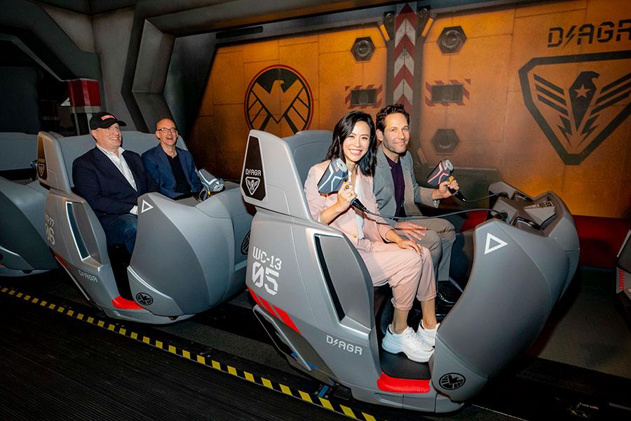 Paul Rudd and Jessica Hsuan on Ant-Man and The Wasp: Nano Battle! at Hong Kong Disneyland