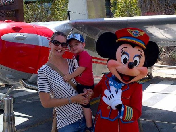 Kristin and child with Minnie