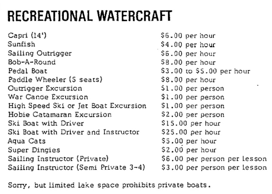 An October 1971 listing of the available water craft rentals at Walt Disney World.