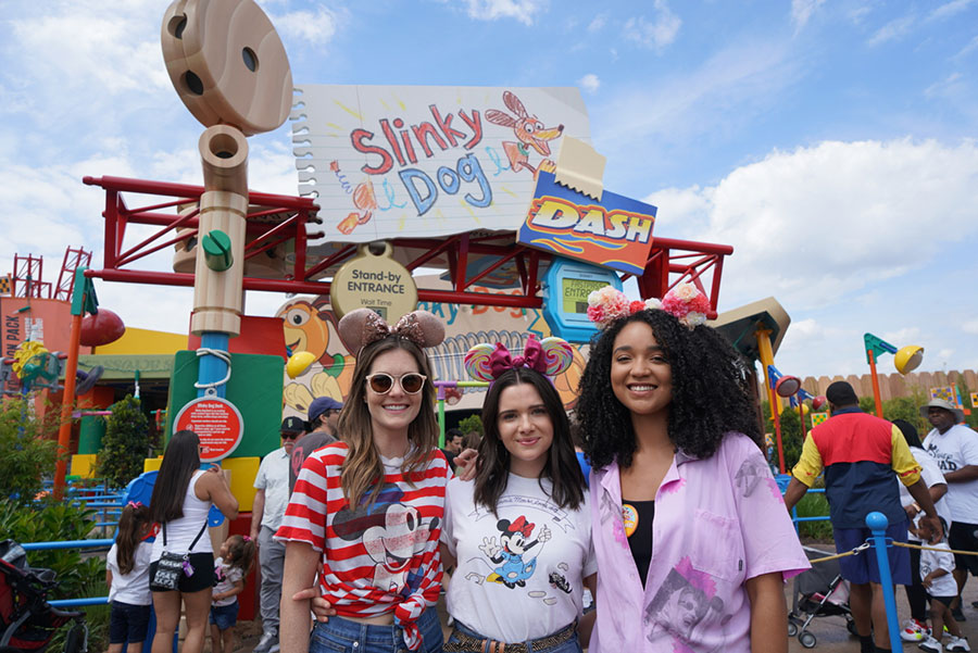 Katie, Aisha, and Meghann at Slinky Dog Dash