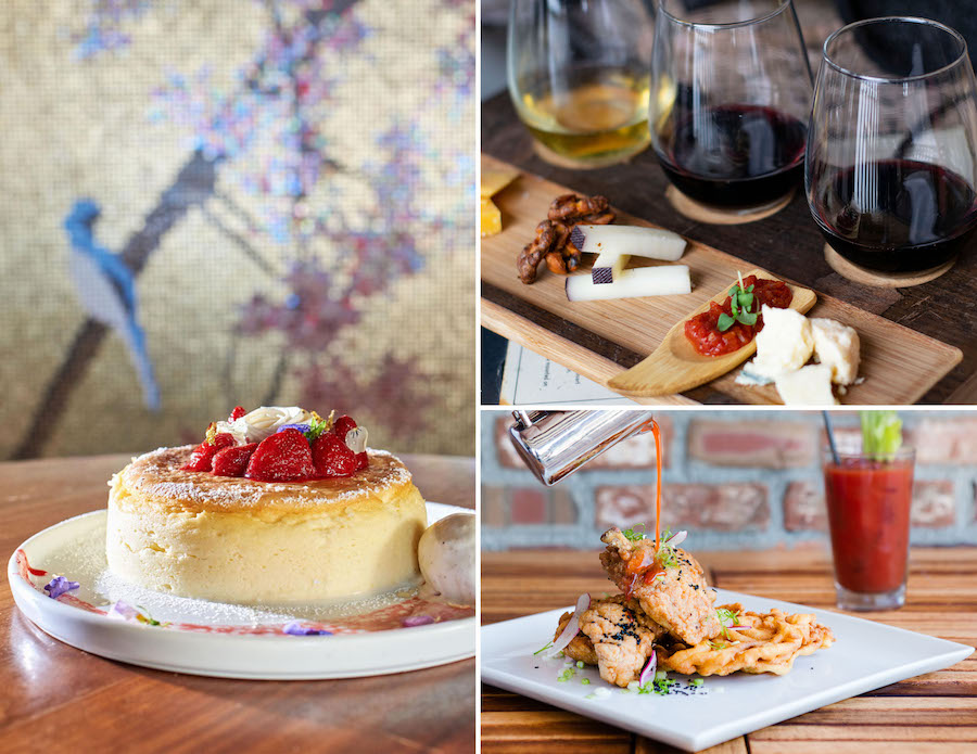 Japanese Cheesecake Soufflé from Morimoto Asia, wine and cheese trio pairing at Jock Lindsey's Hangar Bar and brunch buffet selection at STK Orlando at Disney Springs