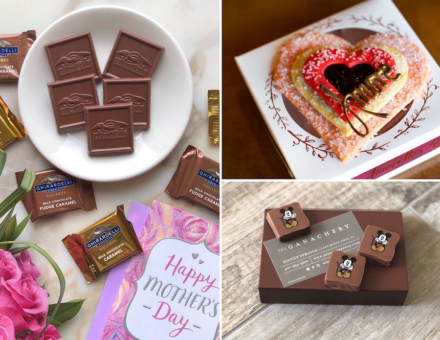 """Chocolates from Ghirardelli Soda Fountain & Chocolate Shop, special """"amore"""" cookie from Amorette's Patisserie and classic box of chocolates from The Ganachery at Disney Springs"""