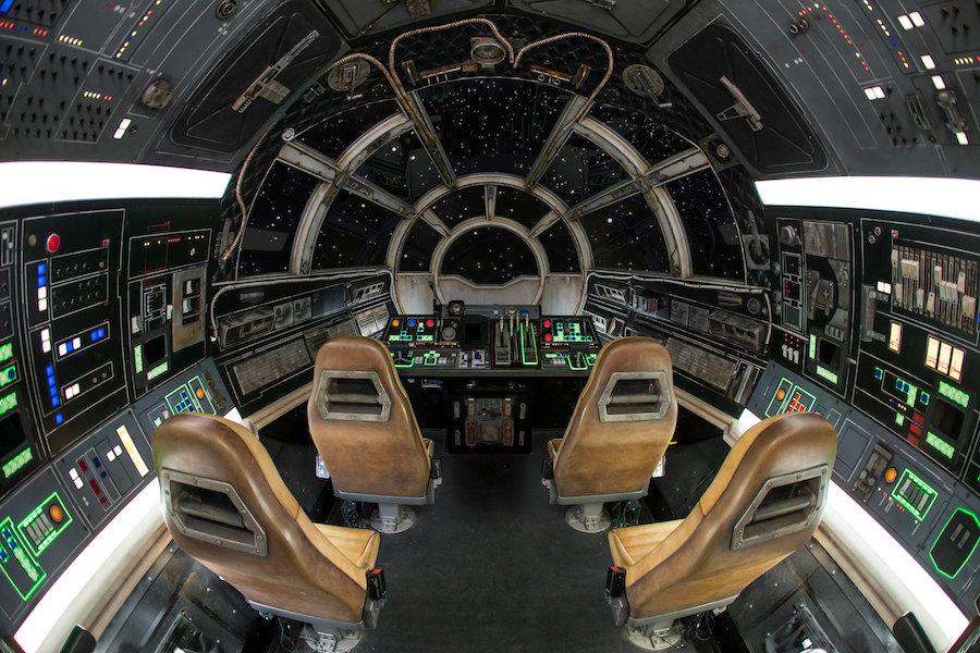 Taking Control of Millennium Falcon: Smugglers Run at Star Wars: Galaxy's Edge at Disneyland Park