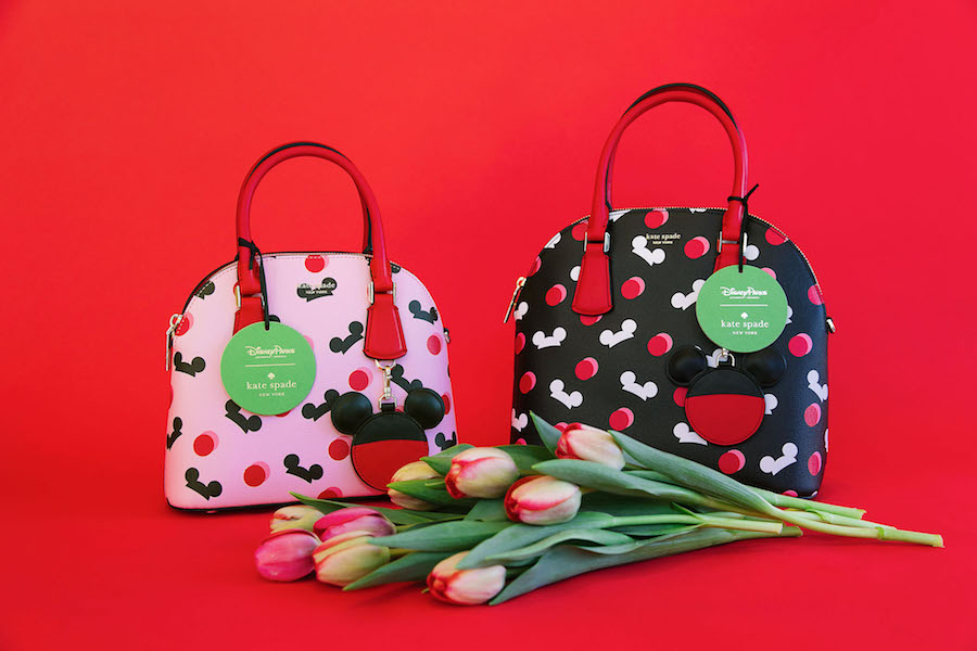 Disney-inspired kate spade new york handbag collection featuring classic shades of pink and red
