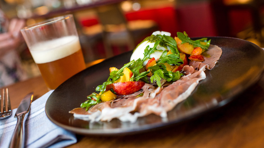 Local Buratta and Cigar City Jai Alai IPA from Wolfgang Puck Bar & Grill for Disney Springs Flavors of Florida
