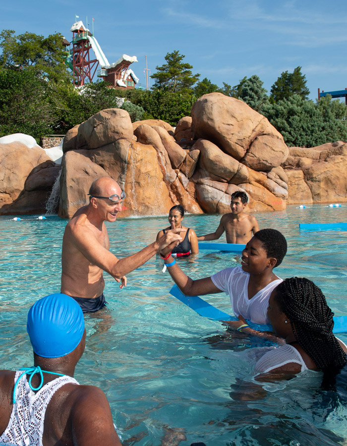 Olympic Gold Medalist Rowdy Gaines Visits Disney's Blizzard Beach for the 'World's Largest Swimming Lesson'