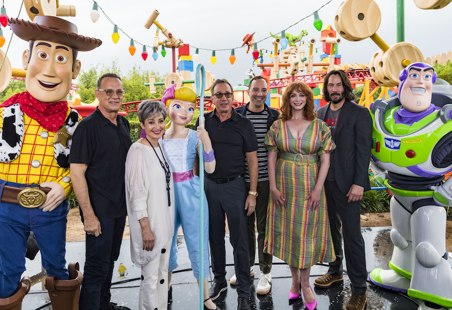 From left: Woody, Tom Hanks, Annie Potts, Bo Peep, Tim Allen, Tony Hale, Christina Hendricks, Keanu Reeves and Buzz Lightyear