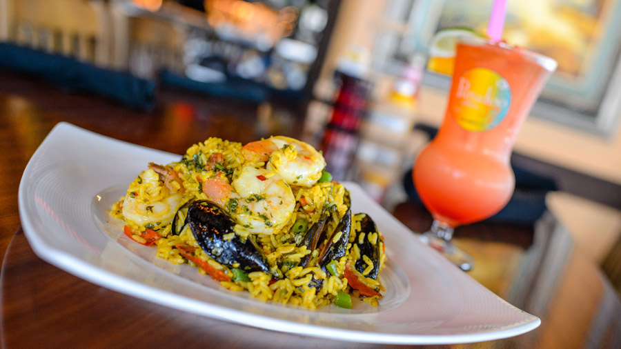 Florida Scorpion Shrimp Paella and Sunset Margarita from Paradiso 37, Taste of the Americas for Disney Springs Flavors of Florida