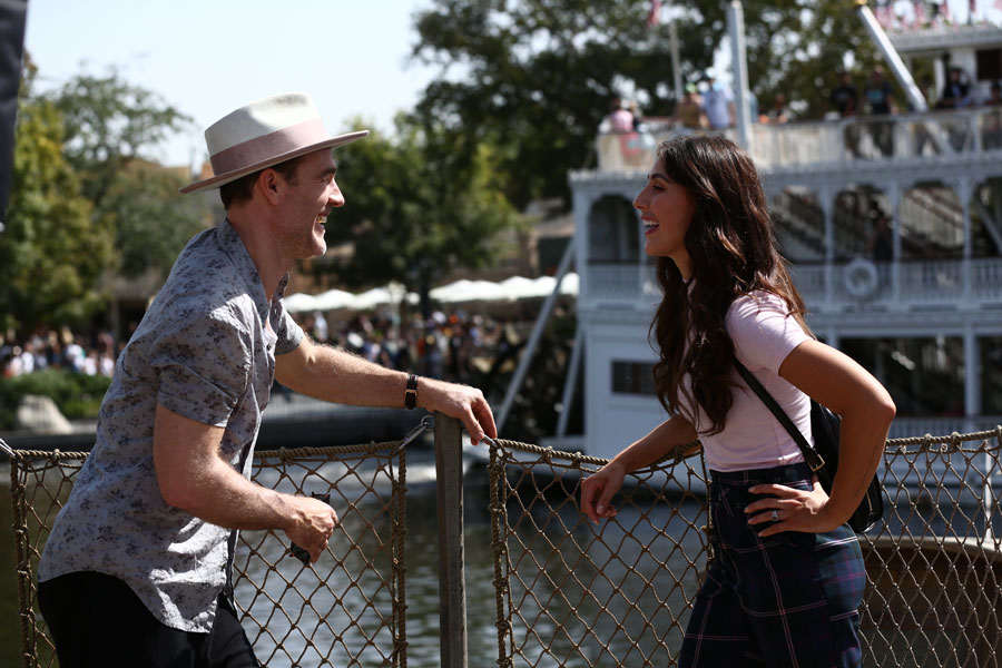 """""""Dancing with the Stars"""" contestant actor James Van Der Beek, and his partner, professional dancer Emma Slater, discuss their upcoming Paso in Frontierland at Disneyland park."""