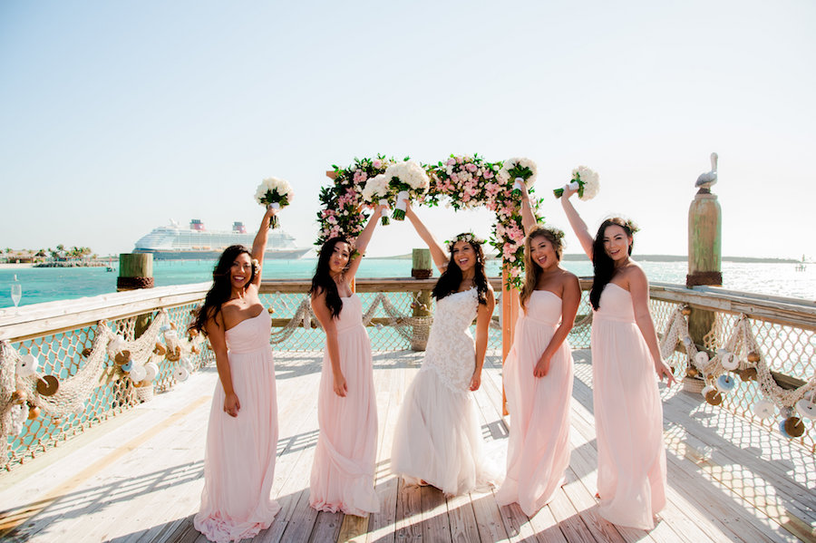 Bride and Bridesmaids at Castaway Cay for a Disney Fairytale Wedding