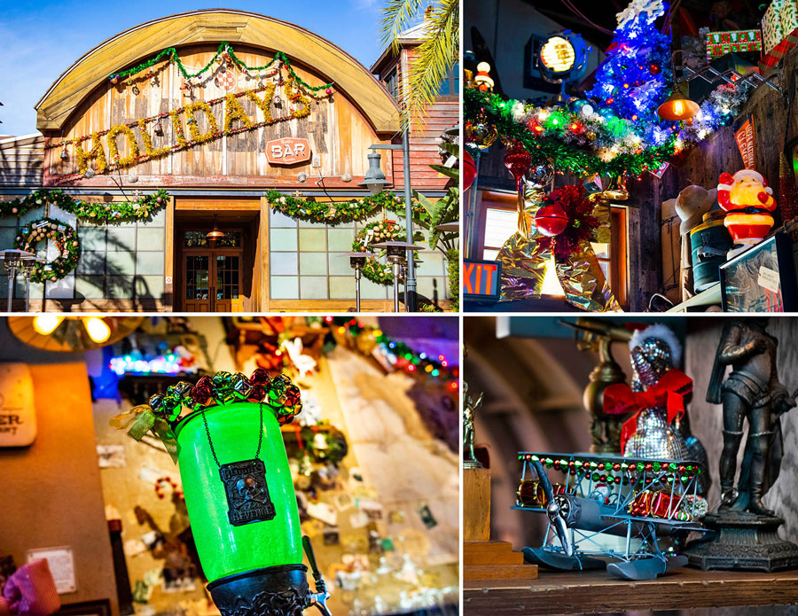Photo collage of the decor and details at Jock Lindsey's Holiday Bar at Disney Springs