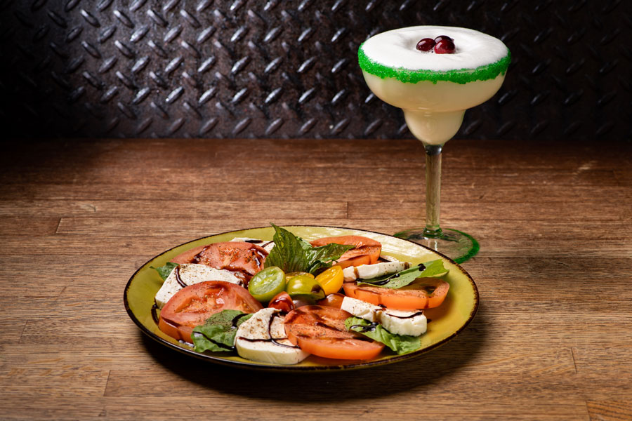 Holiday Caprese Wreath and White Chritstmas Margarita at Jock Lindsey's Holiday Bar at Disney Springs