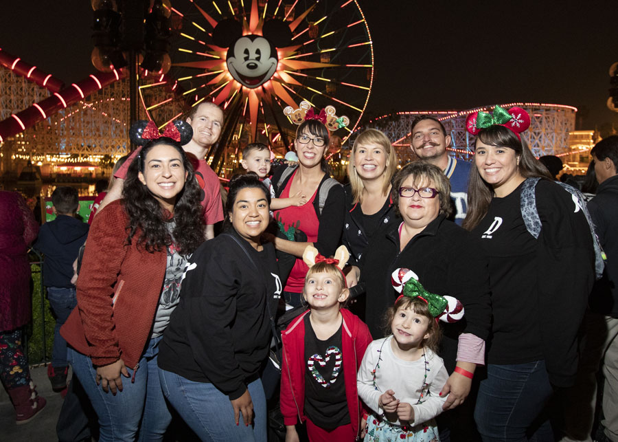 Disney Parks Blog Readers pose at the Holiday 2019 Meet-Up at Disney California Adventure Park