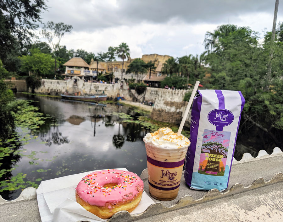 Donut, Lion's Latte and Coffee from Joffrey's Coffee at Disney's Animal Kingdom