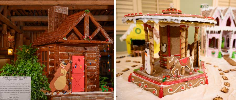 Gingerbread displays at Disney's Wilderness Lodge and Disney's Saratoga Springs Resort & Spa