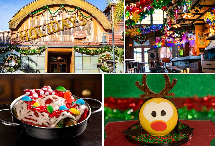 Collage of Disney Springs holiday offerings