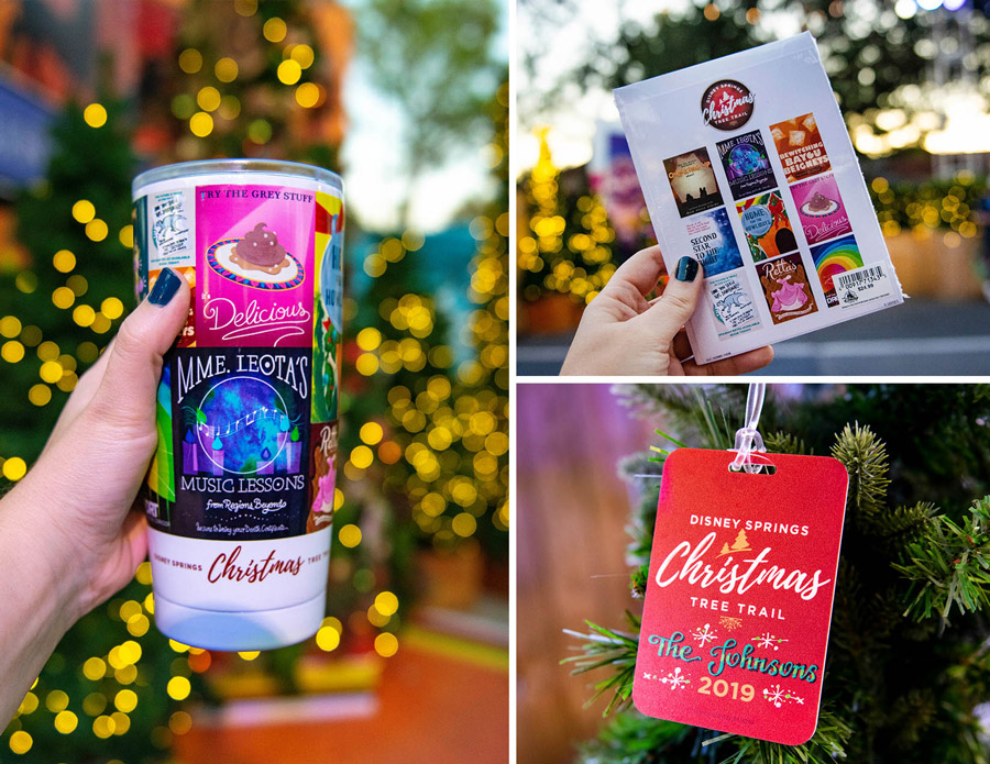 Collage of Disney Springs Christmas Tree Trail merchandise available at the Elforium: tumbler, postcards and luggage tag
