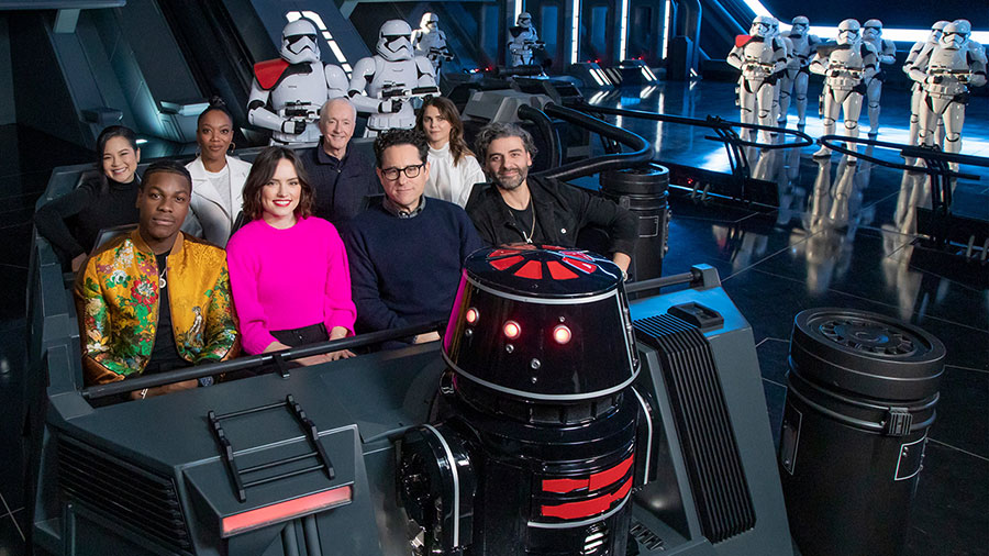 The cast of Star Wars: The Rise of Skywalker got a first look at Star Wars: Rise of the Resistance attraction at Disneyland park