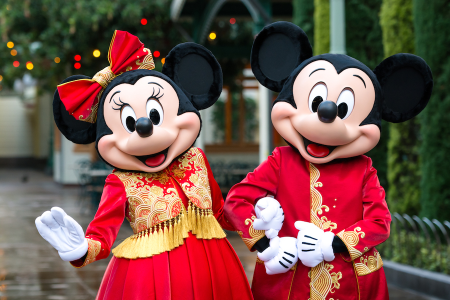 Mickey Mouse and Minnie Mouse Kick Off Lunar New Year in Designer Outfits at Disney California Adventure Park and Shanghai Disneyland