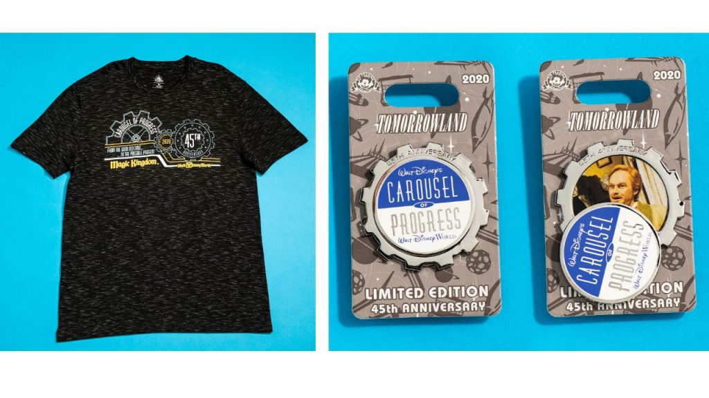 Carousel of Progress 45th anniversary shirt and pins