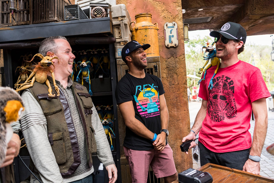 NASCAR Cup Series Drivers Ryan Blaney and Bubba Wallace Trade In Their Race Cars to Pilot the Millennium Falcon at Star Wars: Galaxy's Edge